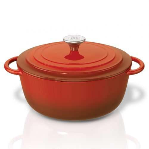Bennett Read Red Cast Iron Pot 3/4 View