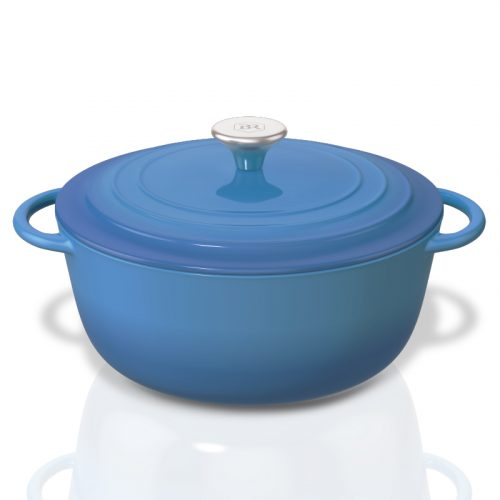 Bennett Read Blue Cast Iron Pot 3/4 View